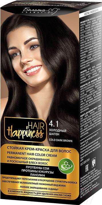 Купить Крем-краска для волос Белита-М, Hair Happiness стойкая тон № 4.1 (холодный шатен), Беларусь