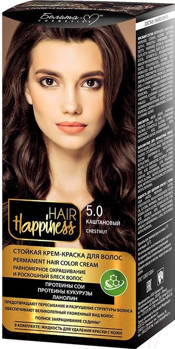 Купить Крем-краска для волос Белита-М, Hair Happiness стойкая тон № 5.0 (светло-каштановый), Беларусь, шатен