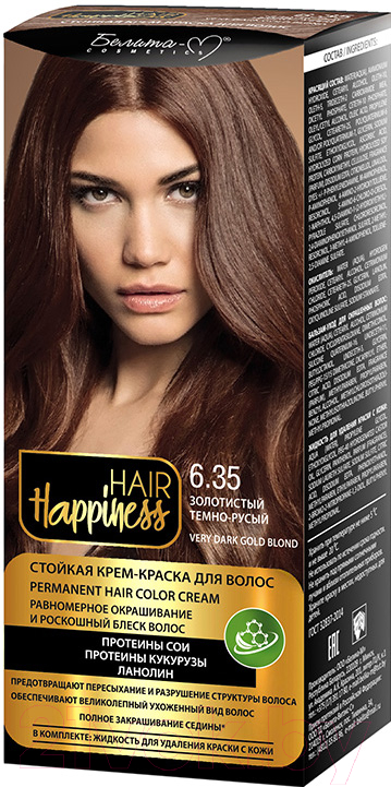 Купить Крем-краска для волос Белита-М, Hair Happiness стойкая тон № 6.35 (золотистый темно-русый), Беларусь, шатен