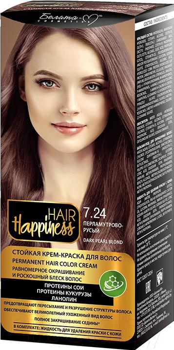Купить Крем-краска для волос Белита-М, Hair Happiness стойкая тон № 7.24 (перламутрово-русый), Беларусь, шатен