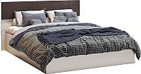 Двуспальная кровать Мебель-КМК 1600 Николь 0683.1 (дуб шамони светлый/орех шоколадный) -