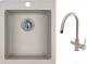 Мойка кухонная Granula GR-4201 + смеситель GR-3509L (базальт) -