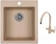 Мойка кухонная Granula GR-4201 + смеситель GR-3509L (песок) -