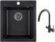 Мойка кухонная Granula GR-4201 + смеситель GR-3509L (черный) -