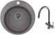 Мойка кухонная Granula GR-4801 + смеситель GR-3509L (графит) -