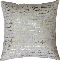 Подушка декоративная MATEX Luxury Писание / 17-547 (золото/светло-серый) -