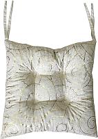 Подушка на стул MATEX Luxury Волны / 17-561 (золотой/светло-серый) -