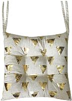 Подушка на стул MATEX Luxury Треугольники / 17-615 (золото/светло-серый) -