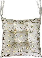 Подушка на стул MATEX Luxury Треугольники Гипноз / 17-622 (золото/светло-серый) -