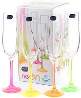 Набор бокалов для шампанского Bohemia Crystal Neon 40729/D4892/190 (4шт) -