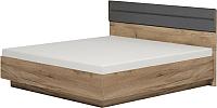 Каркас кровати Глазов Neo 307 Люкс с ПМ 160x200 (дуб табачный Craft/черный) -