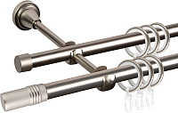 Карниз для штор АС ФОРОС Grace D16Г/16Г + наконечники Цилиндр (3м, сатин) -