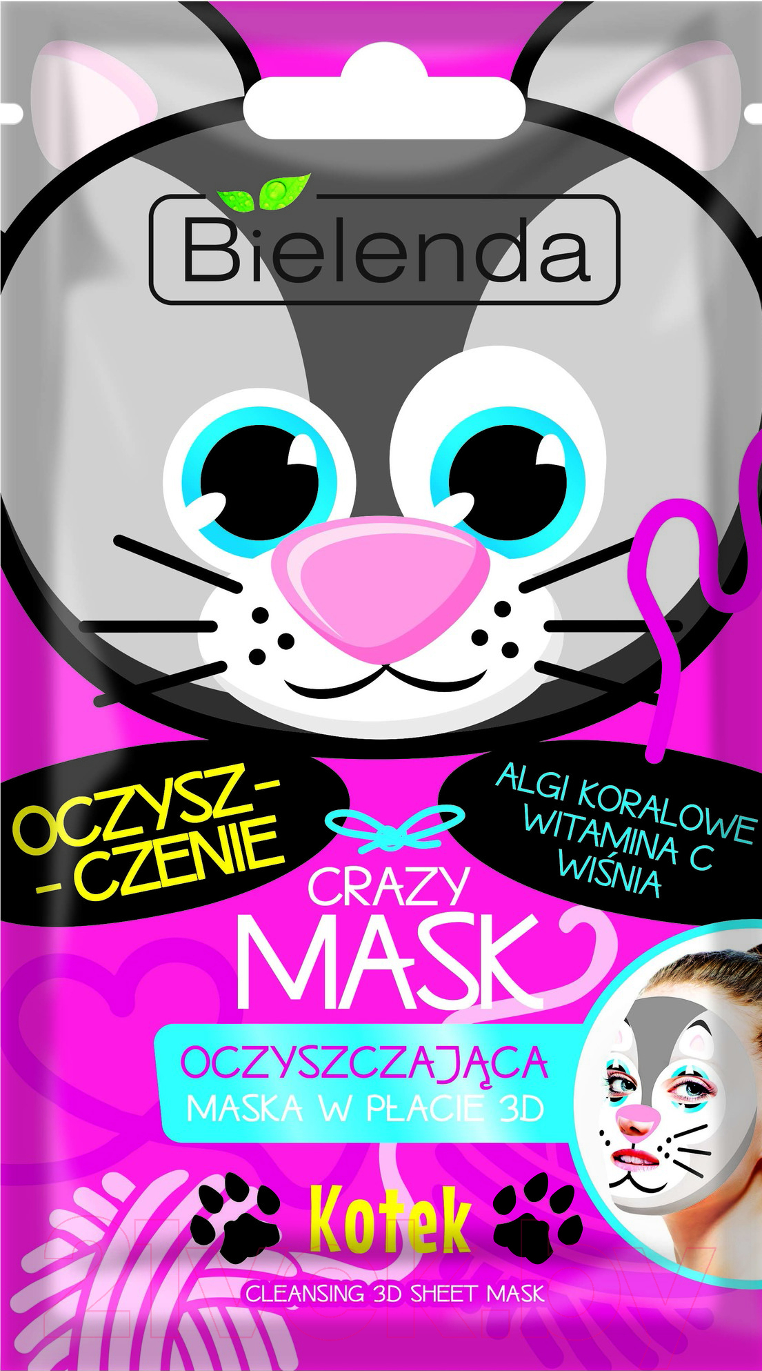 Купить Маска для лица тканевая Bielenda, Crazy Mask Котик очищающая, Польша, Crazy Mask (Bielenda)