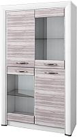 Шкаф с витриной Anrex Olivia 2V2D (вудлайн кремовый/дуб аскона) -