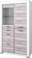 Шкаф с витриной Anrex Olivia 1V2D3S (вудлайн кремовый/дуб аскона) -