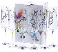Набор бокалов для шампанского Bohemia Crystal Butterfly 40728/S1432/200 (6шт) -