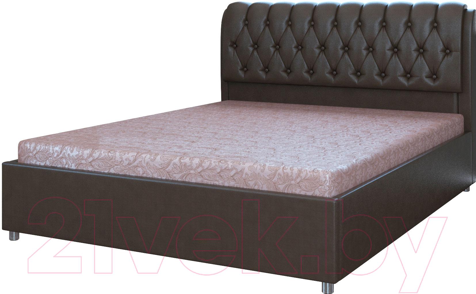 Двуспальная кровать Bravo Мебель, Барселона с ПМ 160x200 (экокожа черный), Россия  - купить со скидкой
