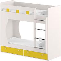 Двухъярусная кровать Славянская столица Д-КрД (белый/желтый) -