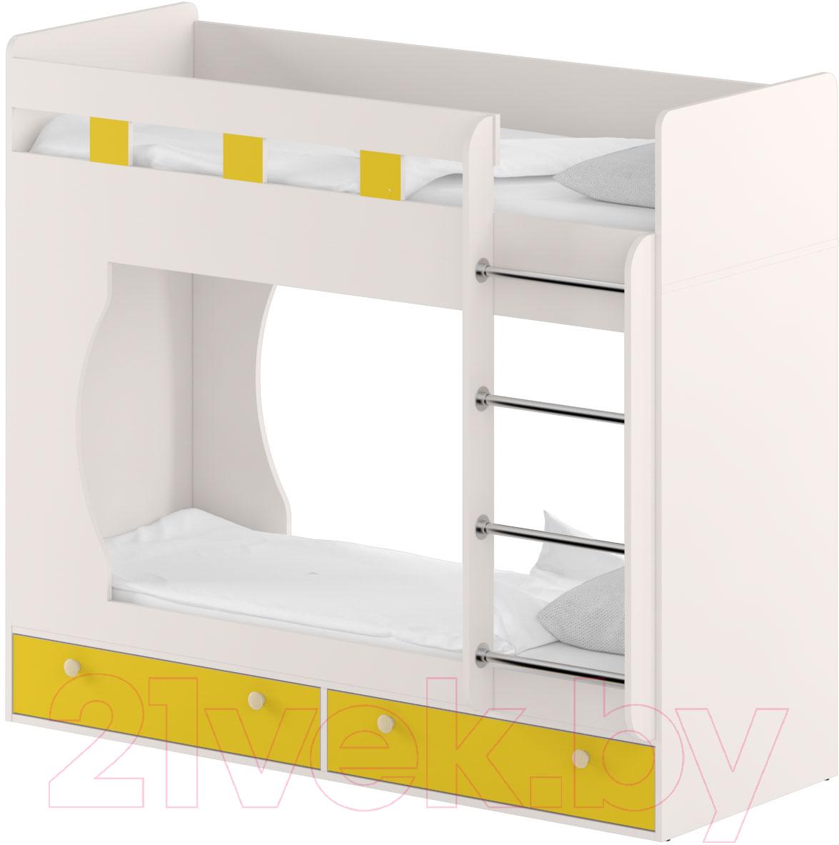Купить Двухъярусная кровать Славянская столица, Д-КрД (белый/желтый), Беларусь