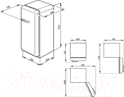 Холодильник с морозильником Smeg FAB28RDGM3