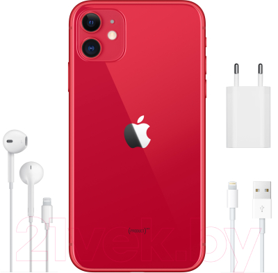 Смартфон Apple iPhone 11 64GB / MWLV2 (красный)
