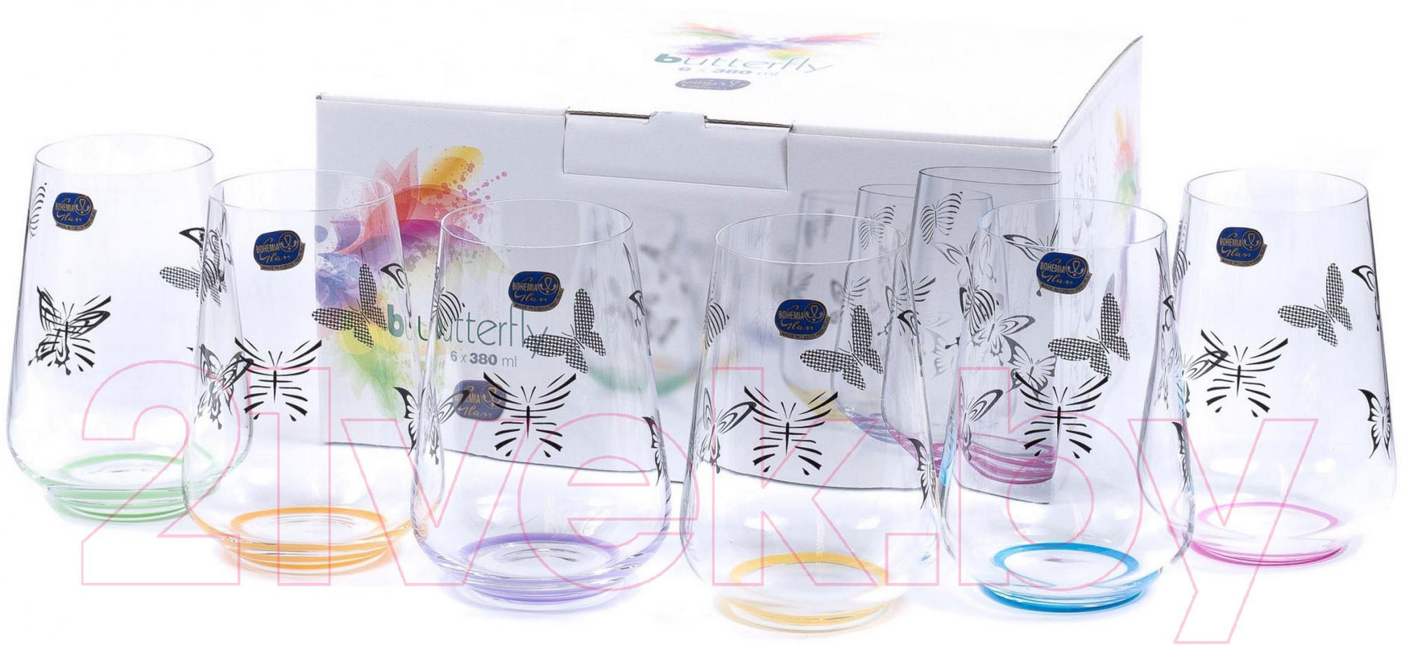 Купить Набор стаканов Bohemia, Crystal Butterfly 23013/S1432/380 (6шт), Чехия, стекло