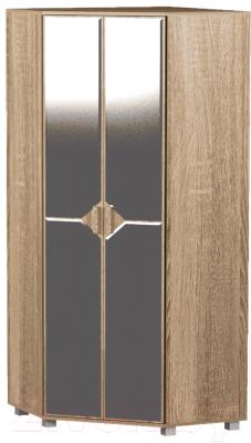 Шкаф Сакура Саквояж №3 с зеркалом (дуб сонома темный/дуб сонома светлый)