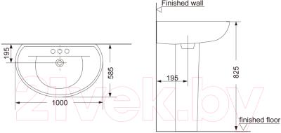 Умывальник Porta Perfect / HDLP 109B (с пьедесталом)
