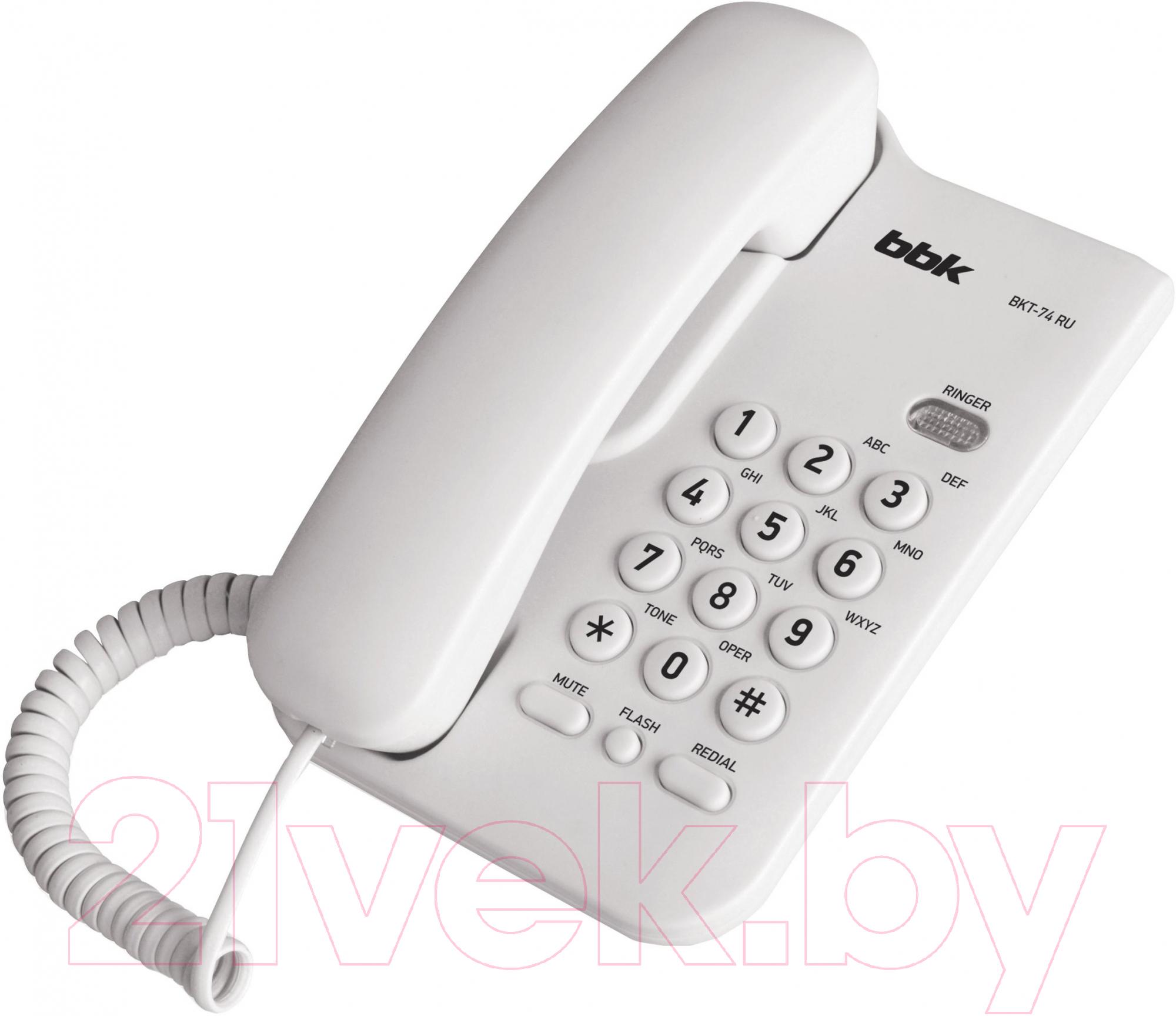 Проводной телефон BBK BKT-74 (белый) Богушевск Покупка б у по объявлению
