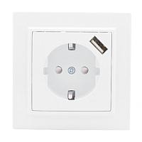 Розетка EKF Basic Минск СП 1-м 16А / ERR16-028-100-USB (белый) -