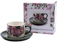Чашка с блюдцем Home Line Цветы HC126-R01 -