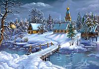 Набор алмазной вышивки Алмазная живопись Зима в деревне / АЖ-1276 -