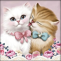 Набор алмазной вышивки Алмазная живопись Кот и кошка / АЖ-1296 -