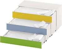Трехъярусная кровать Славянская столица ДУ-К3 (белый/зеленый/желтый/синий) -