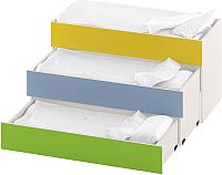 Трехъярусная кровать Славянская столица ДУ-К3С (белый/зеленый/желтый/синий) -