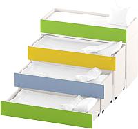 Четырехъярусная кровать Славянская столица ДУ-К4 (белый/зеленый/желтый/синий) -