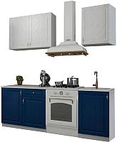 Готовая кухня Аметиста Гранд 1.5 (синий/белый) -