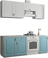 Готовая кухня Аметиста Гранд 2.1 (зеленый/белый) -