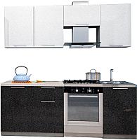 Готовая кухня Аметиста Олива 2.1 (черный/белый) -