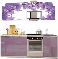 Готовая кухня Интерьер центр Орхидея 2.1 (орхидея фотопечать/сирень) -