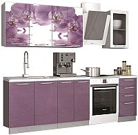 Готовая кухня Аметиста Орхидея 1.8 (орхидея фотопечать/сирень) -