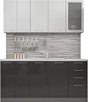 Готовая кухня Аметиста Олива 1.8 (черный/белый) -