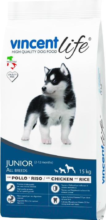 Купить Корм для собак Vincent, Life Junior Chicken & Rice (15кг), Италия