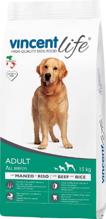 Купить Корм для собак Vincent, Life Adult Beef & Rice (15кг), Италия