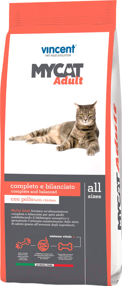 Купить Корм для кошек Vincent, MyCat Adult (20кг), Италия
