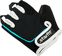 Перчатки для пауэрлифтинга Starfit SU-111 (XS, черный/белый/голубой) -