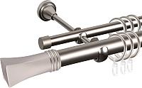 Карниз для штор АС ФОРОС Grace D25Г/16Г составной + наконечники Малага (3м, сатин) -