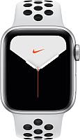 Умные часы Apple Watch Series 5 Nike+ GPS 44mm / MX3V2 (алюминий серебристый/чистая платина, черный) -