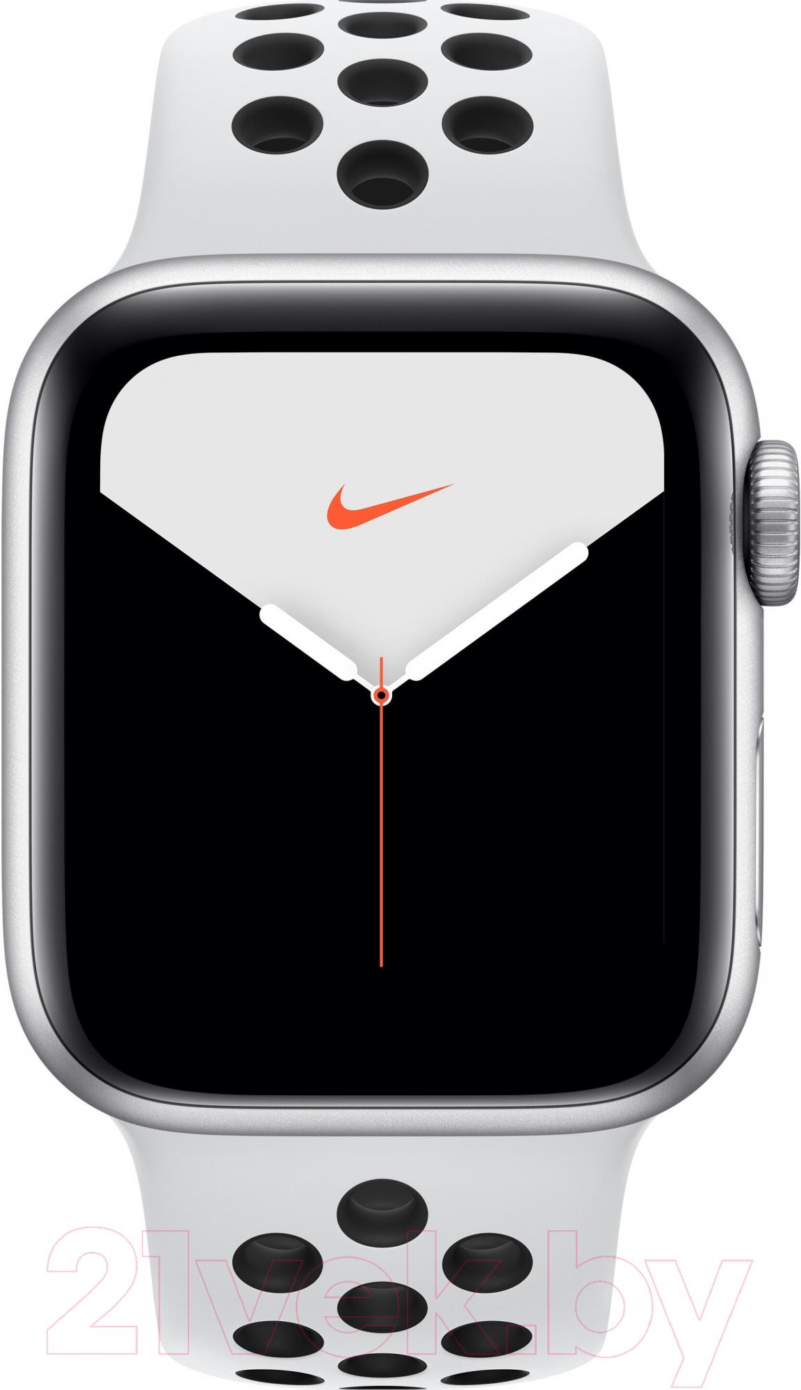 Купить Умные часы Apple, Watch Series 5 Nike+ GPS 44mm / MX3V2 (алюминий серебристый/чистая платина, черный), Китай