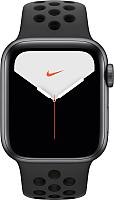 Умные часы Apple Watch Series 5 Nike+ GPS 44mm / MX3W2 (алюминий серый космос/антрацитовый, черный) -